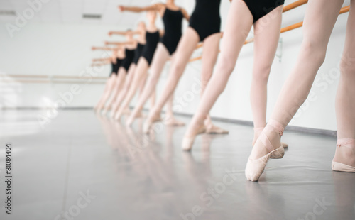 Leinwandbild Motiv young dancers ballerinas in class classical dance, ballet