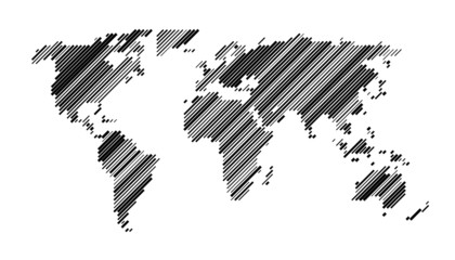 World map diagonal lines random size black EPS 10
