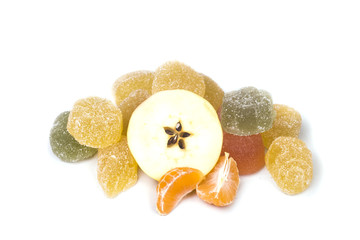 delicious jelly sweet candy with fruit