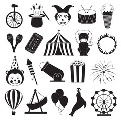 Circus and Amusement Park Icons Set