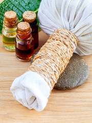 Natural Spa Ingredients . The herbal compress ball and massage o