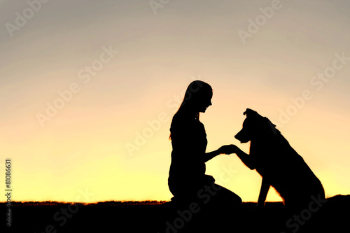 Leinwanddruck Bild Silhouette of Young Woman and Pet Dog Shaking Hands at Sunset