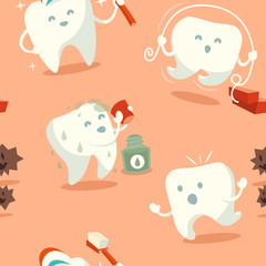 Seamless pattern with cute tooth. Vector illustration.