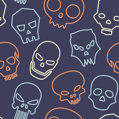 Skulls seamless pattern. Vector illustration.