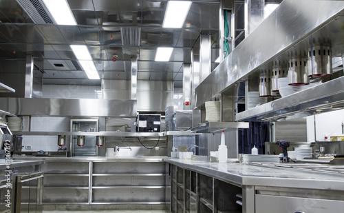 Leinwandbild Motiv Professional kitchen, view counter in steel