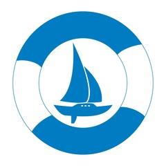 Sailboat and life buoy