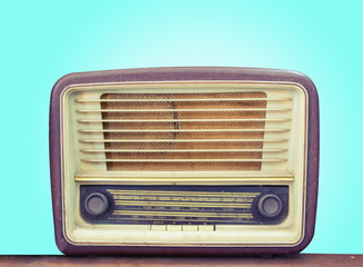 Retro old radio front green background