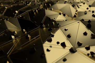 Abstract 3d rendering of gold surface with chaotic cubes.