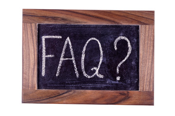 Signboard FAQ. Written in chalk.