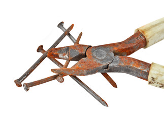 Rusty nail and wire cutter, isolated on white background