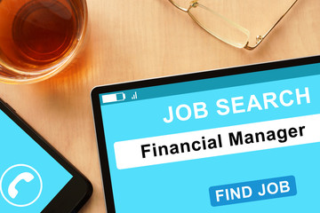 Tablet with Financial Manager  on job search site.
