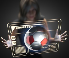 woman and hologram with soccer ball