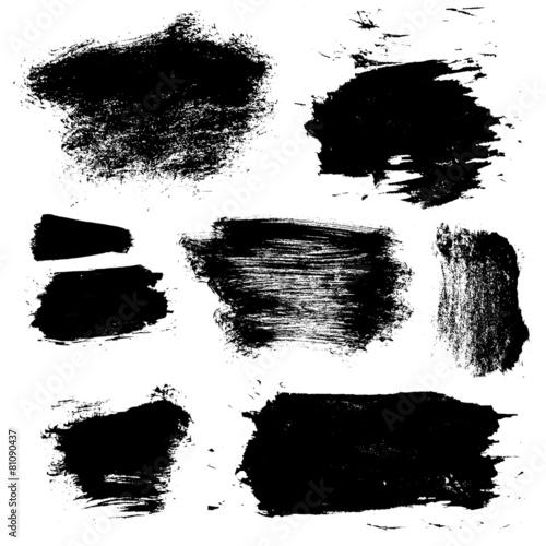 Canvas Vormen vector ink brush stains set