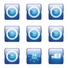 24 Hours Services Square Vector Blue Icon Design Set