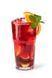 Leinwandbild Motiv Glasses of fruit drinks with ice cubes