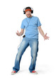 Cool dance man in a cap and headphones on white background