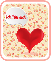 Valentines card with red heart, text Ich liebe dich - I love you