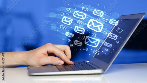 Leinwandbild Motiv Concept of sending e-mails