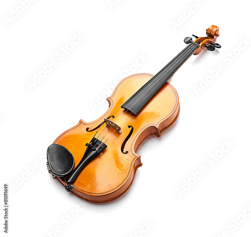 Staande foto Muziekwinkel violin on white background