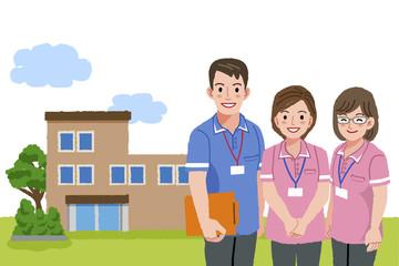 福祉士 福祉施設 Smiling caregivers with nursing facility