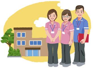 福祉士 福祉施設 Smiling caregivers and nursing house