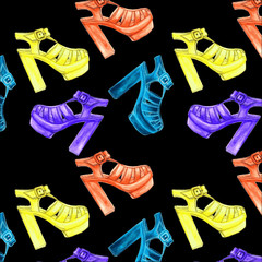 vector seamless pattern with  female fashion and colorful  shoes