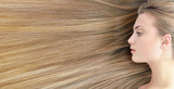 Blond hair. Beautiful young woman with  long healthy hair.