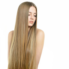 Hair. Beautiful woman with long healthy shiny smooth hair. Attra