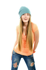 Beautiful joyful girl hipster looking at camera over white backg