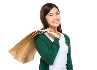 Shopping woman happy smiling holding shopping bags