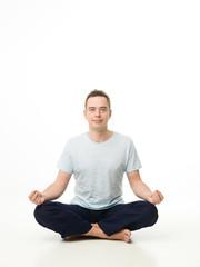 man practicing meditation