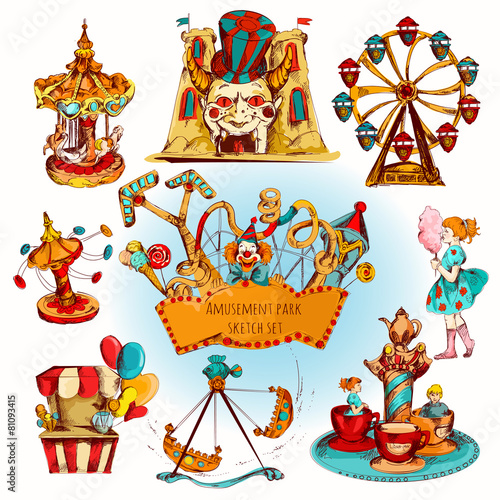 Amusement Park Colored Set - 81093415