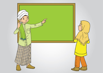 Muslim male teacher and female student
