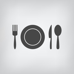 Black restaurant menu icon. Plate, spoon, fork, knife isolated