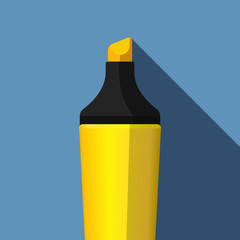 Highlighter icon in flat style with long shadow