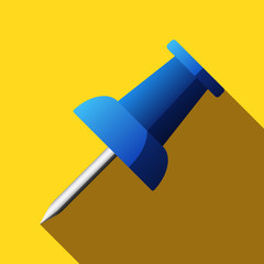 Flat push pin icon with long shadow