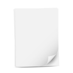 Blank sheets of white paper, vector illustration