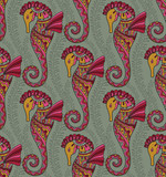Seamless pattern of seahorses