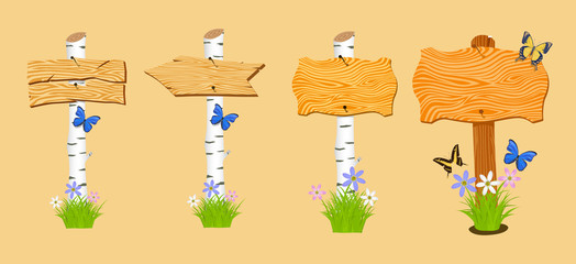Set of Wooden arrow and signboard with flowers and butterflies.