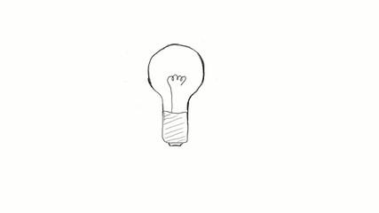 drawn light bulb symbolizing the emergence of ideas, insight