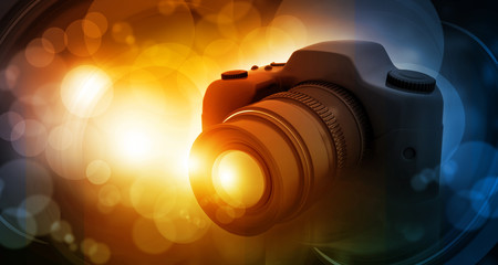 .Digital camera on beautiful digital background