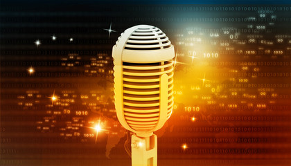microphone on abstract digital background