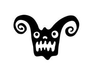 monster head in native style, vector illustration