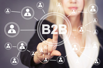 Businesswoman pressing sign button b2b icon web.