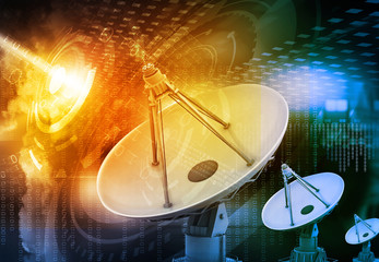 Satellite dish transmission data, abstract tech background .