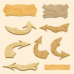 Set of wooden signs and arrows. Vector illustration.