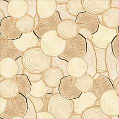 Tree rings saw cut tree trunk background. Seamless wallpaper