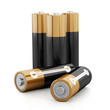 Batteries stack isolated on white background - 81095878