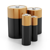 Batteries stack isolated on white background