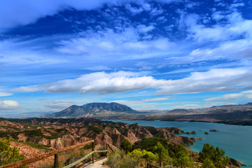View over Lake Nergratin in HDR, Granada Province, Spain